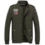 Zip Up Flag and Shark Embroider Jacket - ARMY GREEN