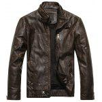 Stand Collar Fleece PU Leather Zip Up Jacket - COFFEE