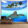 Sea Turtle Palm Fish Print Wall Hanging Tapestry - BLUE