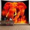 Home Decor Elephant in Fire Wall Hanging Tapestry - RED