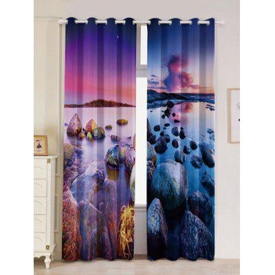 Seaside Sunset 2Pcs Blackout Curtain Window Treatment