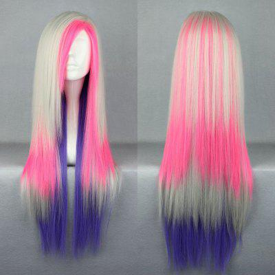Long Side Part Straight Colormix Cosplay Anime peruca sintética