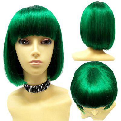 Full Bang Short Straight Bob peruca sintética