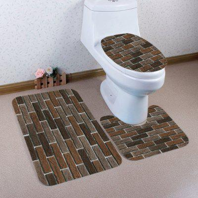 Brick Wall Pattern 3 Pcs Flannel Bathroom Toilet Mat