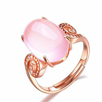 Faux Crystal Gem Oval Cuff Ring