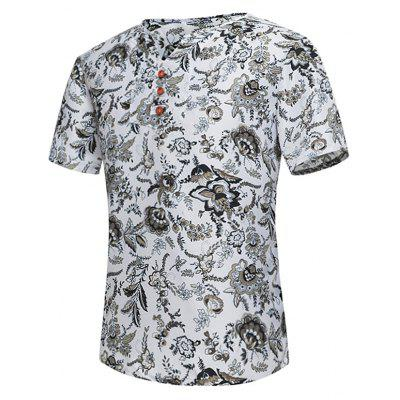 Notch Neck Button Embellished Floral Tee