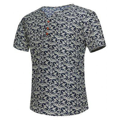 Notch Neck Button Embellished Retro Print Tee