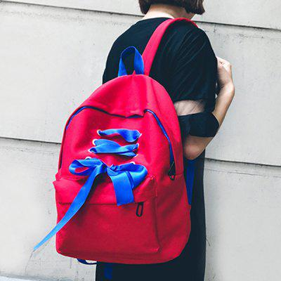 Contrast Color Ribbon BackpackBackpacks<br>Contrast Color Ribbon Backpack<br><br>Closure Type: Zipper<br>Embellishment: Ribbons<br>Gender: For Women<br>Handbag Size: Medium(30-50cm)<br>Handbag Type: Backpack<br>Main Material: Nylon<br>Occasion: Versatile<br>Package Contents: 1 x Backpack<br>Pattern Type: Solid<br>Size(CM)(L*W*H): 31*15*42<br>Style: Casual<br>Weight: 1.2000kg