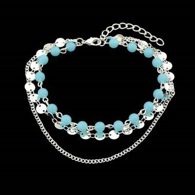 Disc Sequins Beaded Layered Chain Anklet