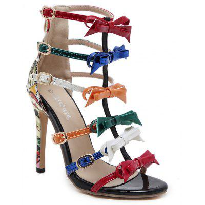 Color Block Bow Strappy Sandalias de tacón alto