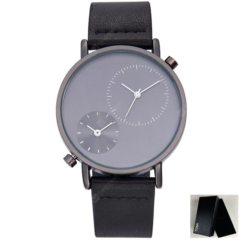 Faux Leather Strap Minimalist Round Watch