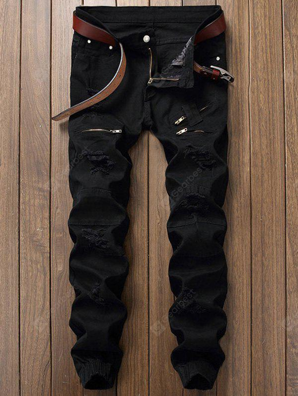 Zip Insert Ripped Jogger Jeans