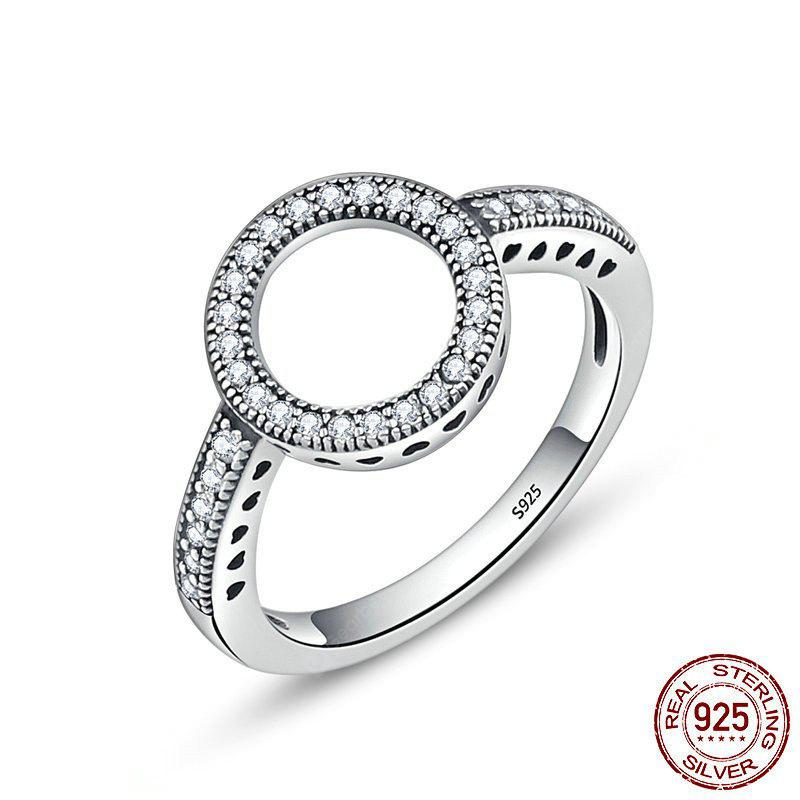 Hollow Out Round and Heart Rhinestone Ring
