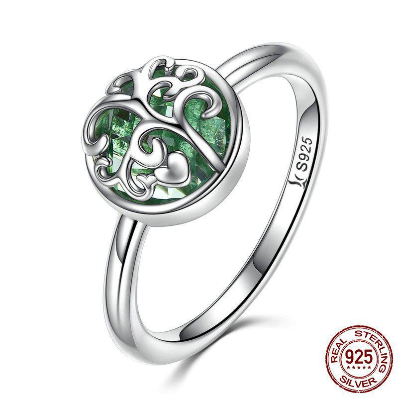 Tree of Life Heart Sterling Silver Ring