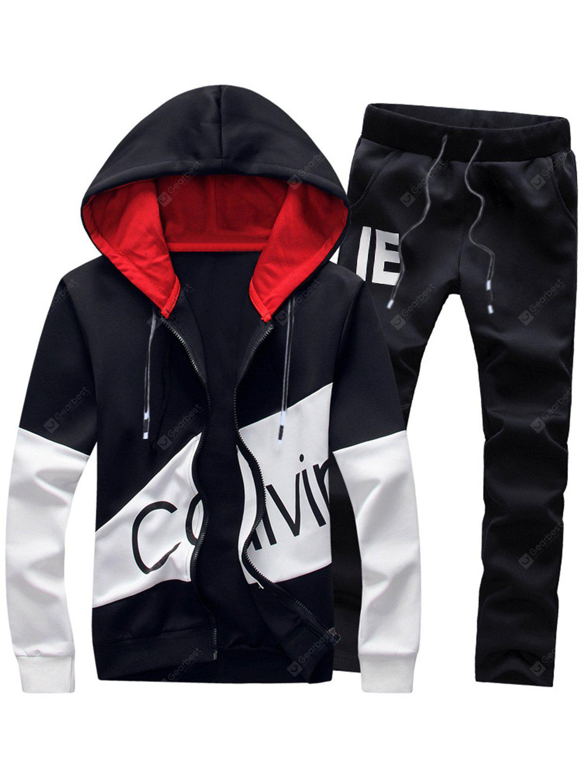 Graphic Print Color Block Panel Hoodie and Pants Twinset