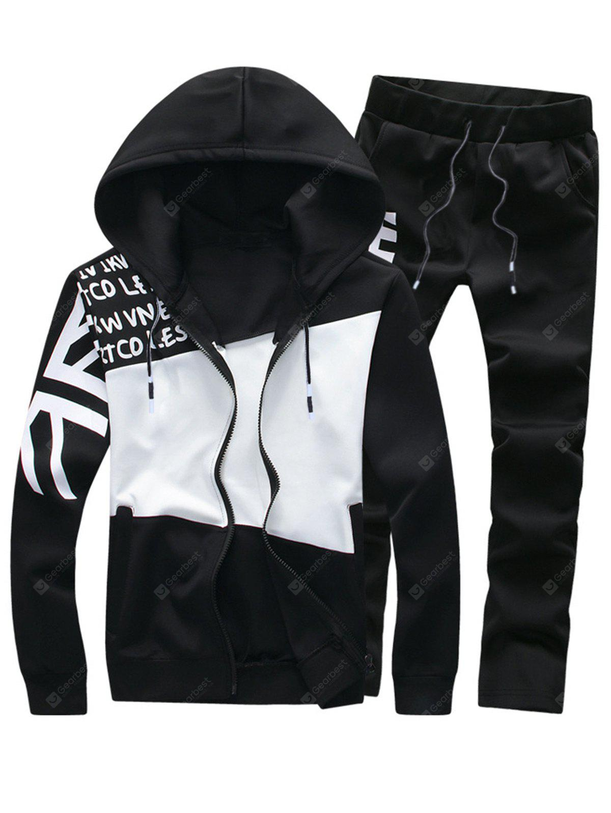 Color Block Panel Graphic Print Hoodie and Pants Twinset