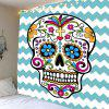 Zig Zag Skull Floral Wall Hanging Tapestry - COLORFUL