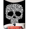 Skull Flower Wall Hanging Tapestry - WHITE