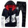 Graphic Print Color Block Panel Hoodie and Pants Twinset - BLACK
