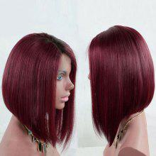 Dark Root Short Side Part Straight Bob Synthetic Wig