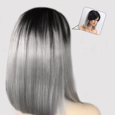 Inclinado Bang Medium Ombre Straight Bob peruca de cabelo humano