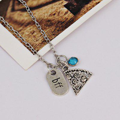 Buy LIGHT BLUE Rhinestone Bff Collarbone Pendant Necklace for $2.38 in GearBest store