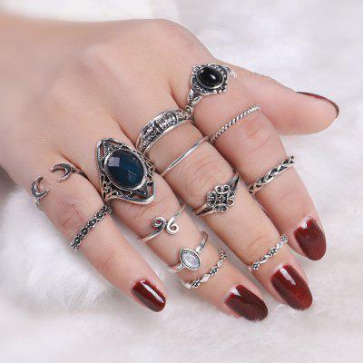 Vintage Moon Cuff Finger Ring Set