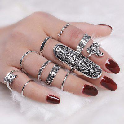 Elephant Sun Moon Full Finger Ring Set