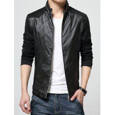 Buy BLACK L Stand Collar PU Leather Panel Zip Up Jacket for $39.53 in GearBest store