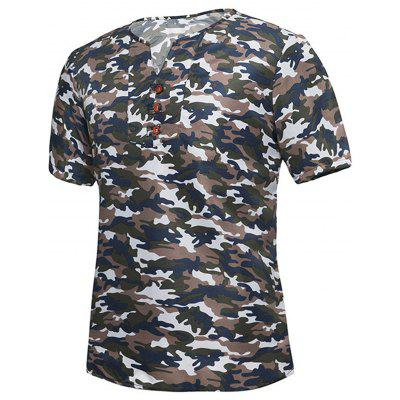 Notch Neck Button Camouflage T-shirt