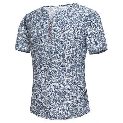 Notch Neck Floral Tee