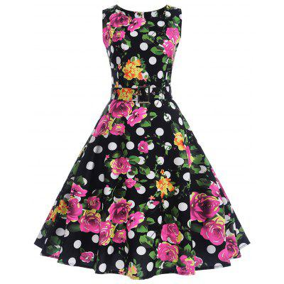 Buy BLACK M Polka Dot Floral A Line Vintage Dress for $20.41 in GearBest store