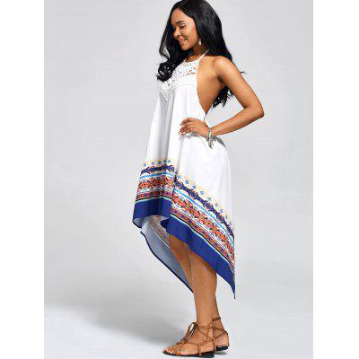 High Low Backless Halter Handkerchief DressWomens Dresses<br>High Low Backless Halter Handkerchief Dress<br><br>Dresses Length: Mid-Calf<br>Embellishment: Lace<br>Material: Polyester<br>Neckline: Halter<br>Package Contents: 1 x Dress<br>Pattern Type: Print<br>Season: Summer<br>Silhouette: Handkerchief<br>Sleeve Length: Sleeveless<br>Style: Bohemian<br>Waist: Natural<br>Weight: 0.2500kg<br>With Belt: No