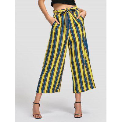 Buy STRIPE L Striped Belted Wide Leg Pants for $26.50 in GearBest store