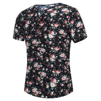 Floral Print Notch Neck Tee