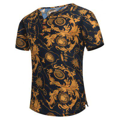 Retro Leaves Print Notch Neck Tee