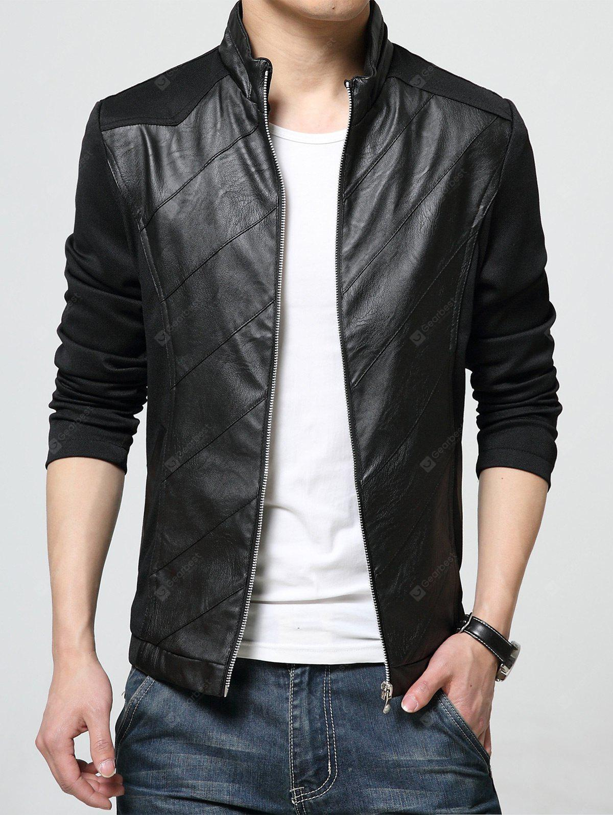 Stand Collar PU Leather Panel Zip Up Jacket