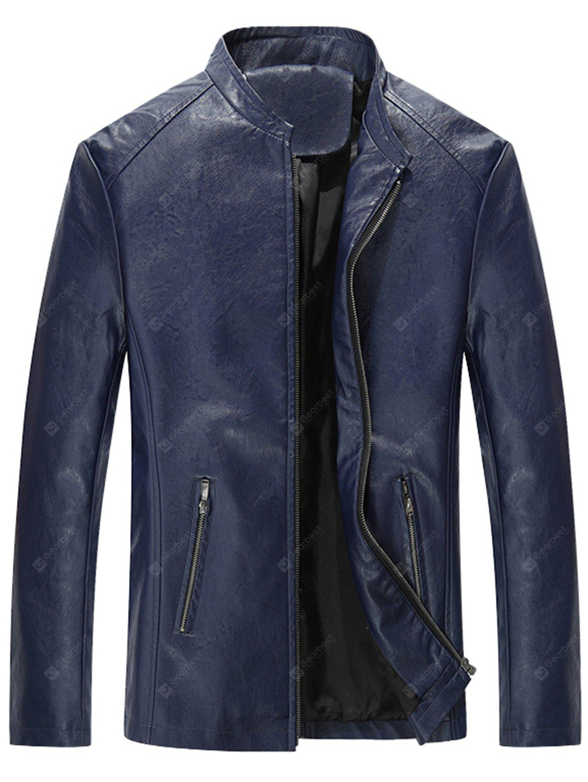 Stand Collar Zip Up Slim Fit PU Leather Jacket