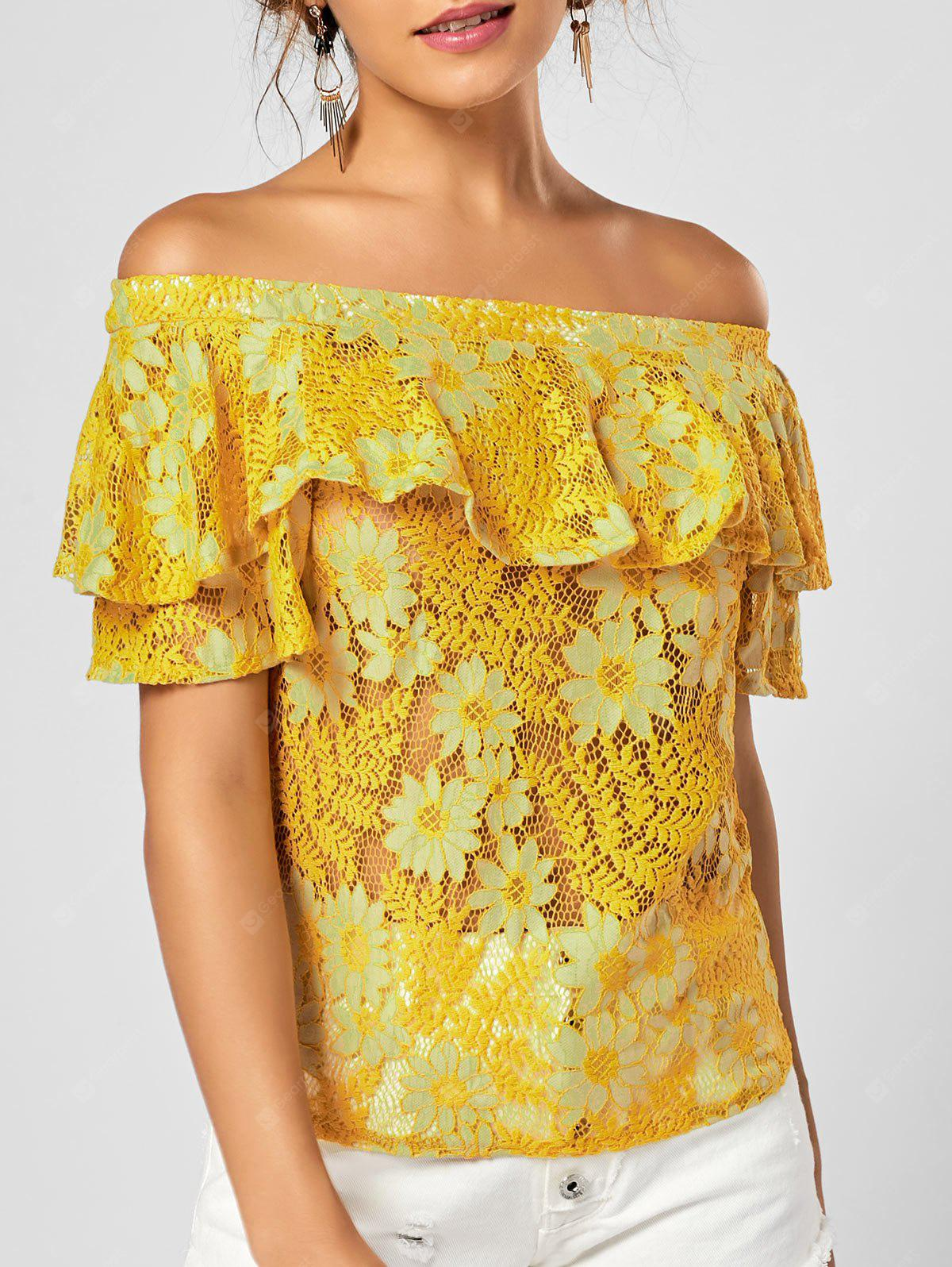 Off The Shoulder Ruffle Floral Lace Top