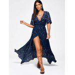 Paisley Print High Slit Maxi Beach Wrap Dress - AZUL ARROXEADO