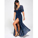 Paisley Print High Slit Maxi Beach Wrap Dress - PURPLISH BLUE