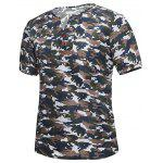 Notch Neck Button Camouflage T-shirt - BROWN