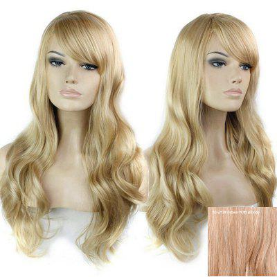 Long Inclined Bang Wavy Cabelo Humano Peruca