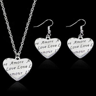 Engraved Love Heart Necklace and Earring Set