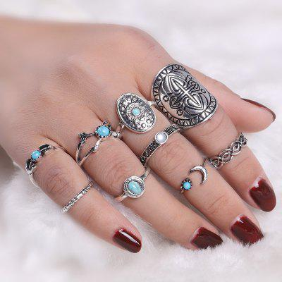 Faux Turquoise Moon Oval Ring Set