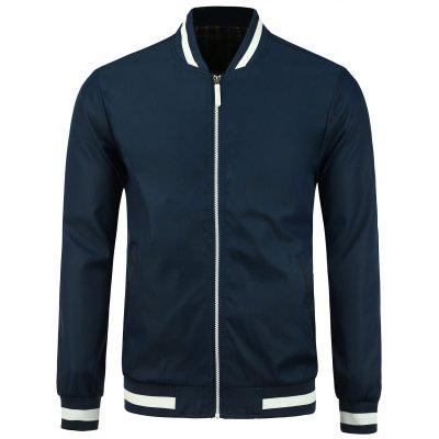 Stripe Rib Panel Stand Collar Zip Up Jacket
