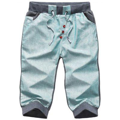 Buy LIGHT GREEN Button Embellished Color Block Cropped Shorts for $21.39 in GearBest store