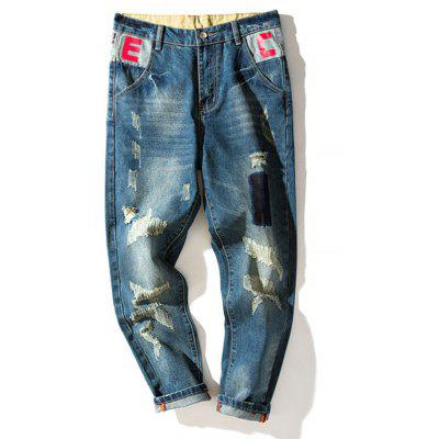 Zipper Fly Camouflage Graphic Print Panel Ripped Jeans