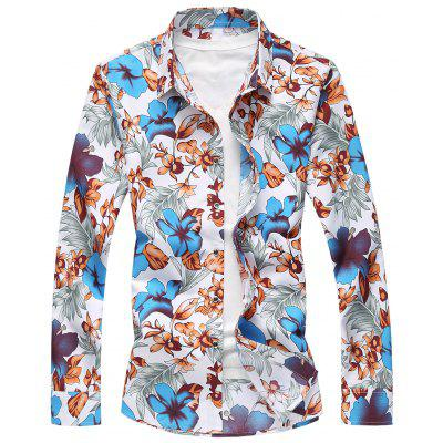 Buy BLUE 6XL Plus Size Flowers and Leaves Print Shirt for $17.39 in GearBest store