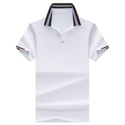 Striped Collar Half Button Golf Shirt